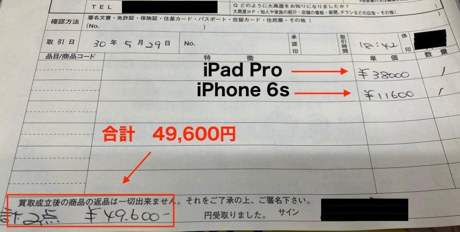 買取査定の結果約5万円