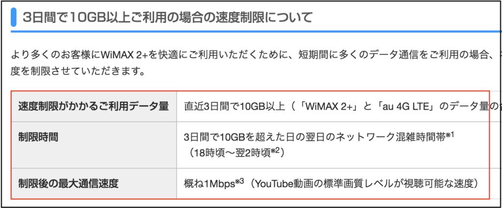 WIMAXの3日10GB制限について