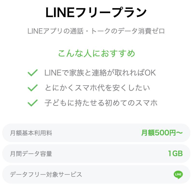 LINEモバイルのLINEフリープラン