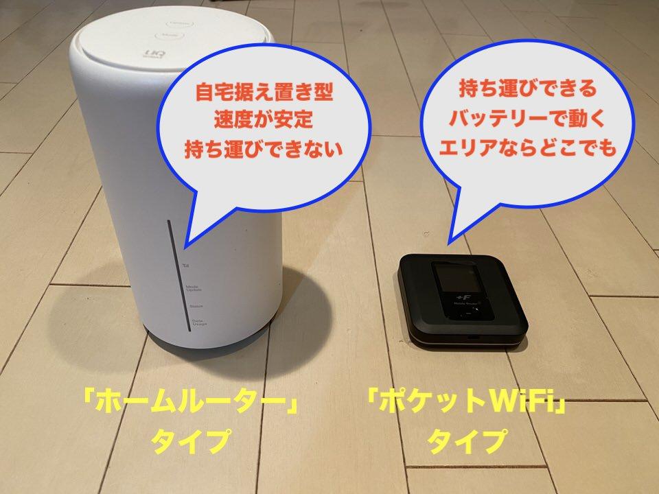 工事なしWiFiは持ち運びタイプと自宅に置くだけタイプの2つ