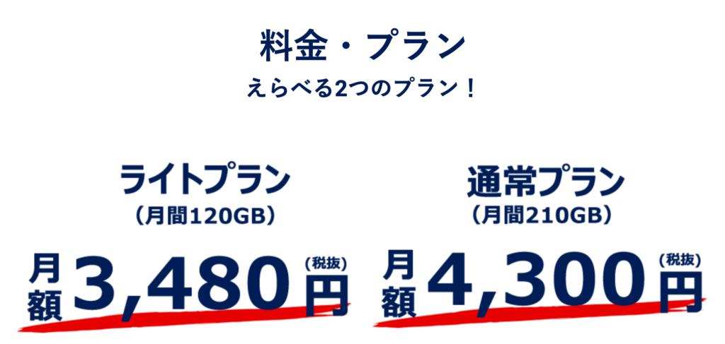hi-ho Let's Wi-Fiの料金プランは2種類あり