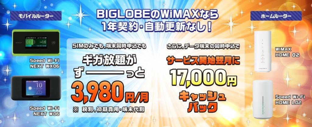 ビッグローブのWiMAXキャンペーン